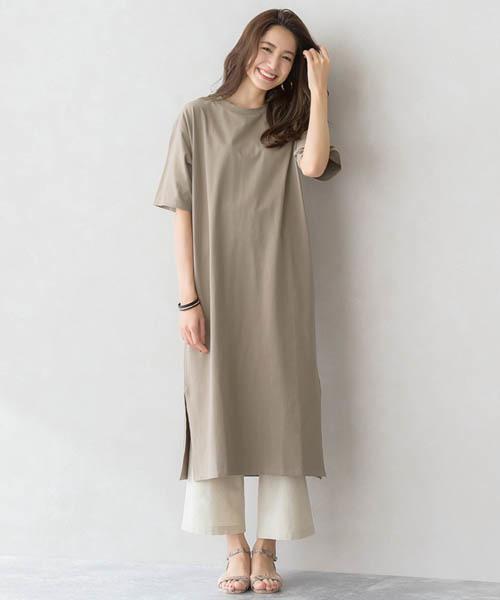 スリット ロングTシャツ