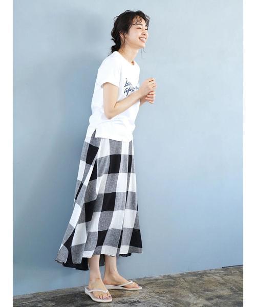 [CRAFT STANDARD BOUTIQUE] 【追加生産】麻混ラップ風フレアロングスカート