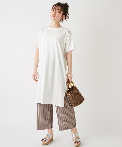[Discoat] USコットン裾スリットワンピース/ロングTシャツ/チュニック/ビッグTシャツ
