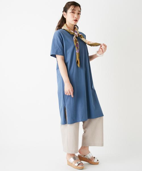 USコットン裾スリットワンピース/ロングTシャツ/チュニック/ビッグTシャツ