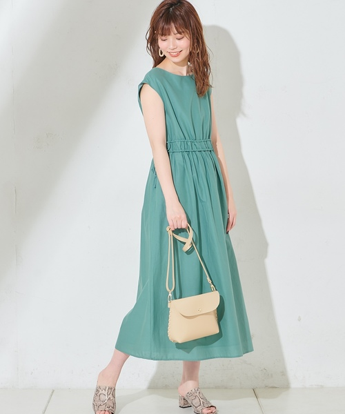 [natural couture] Wドロストリボンギャザーワンピース