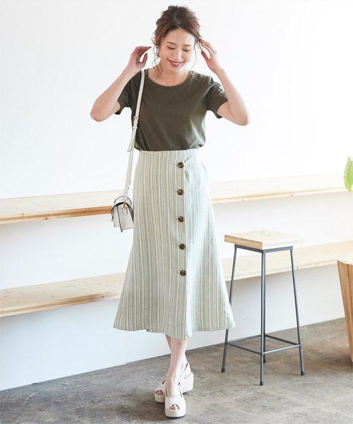 [titivate] リネンライクストライプラップスカート