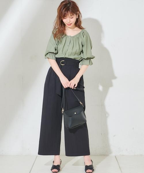[natural couture] ウッド調丸カンベルトワイドパンツ
