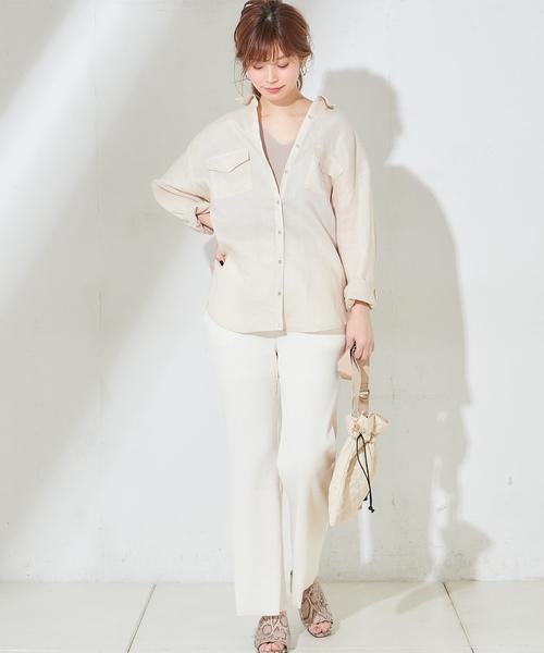 [natural couture] ややフレアリブパンツ
