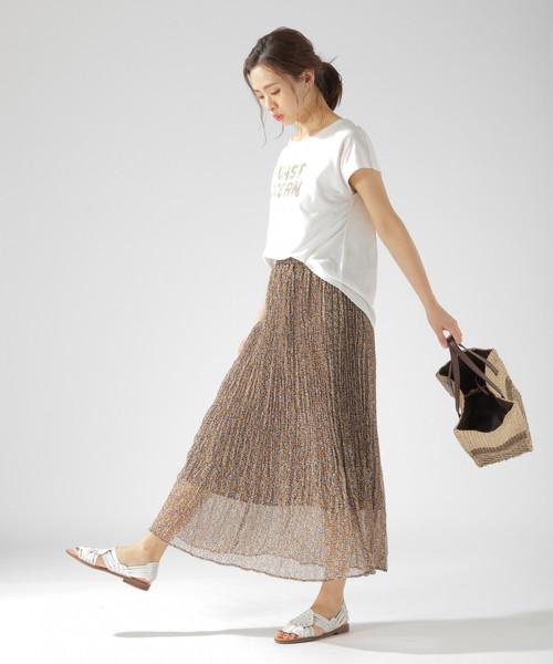 [BAYFLOW] フラワープリーツスカート