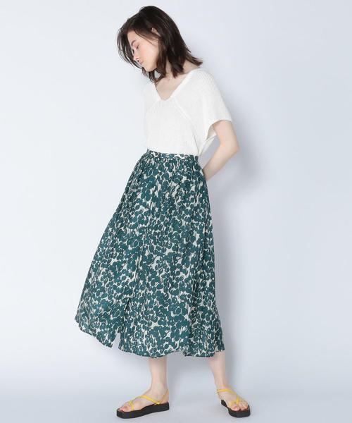[TOMORROWLAND] キュプラコットンフラワープリント ギャザーフレアスカート