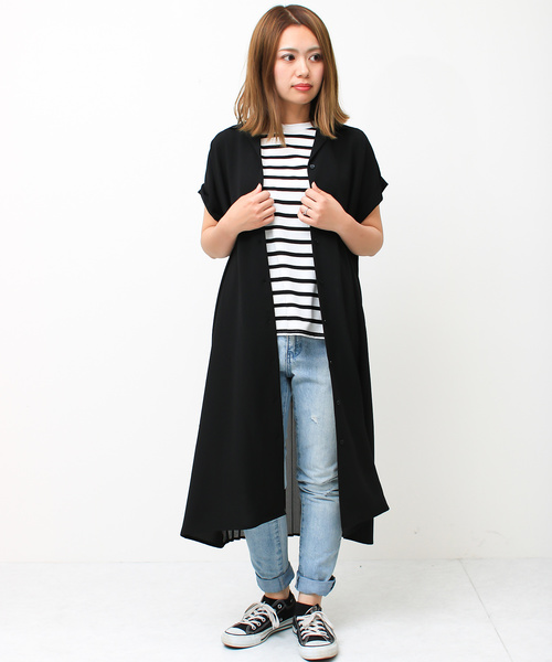 [Social GIRL] バックプリーツジョーゼット開襟とろみシャツワンピース