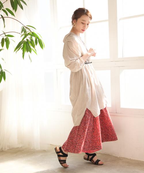 ソフトボイルフラワープリントスカート