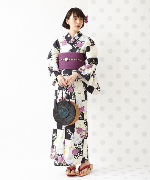 [ふりふ] 浴衣「市松に菊花」