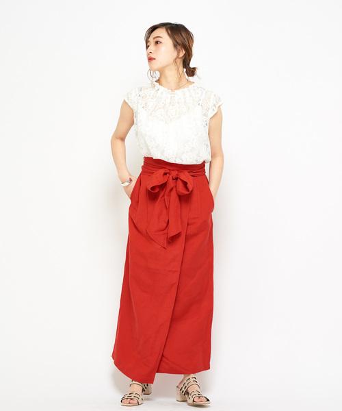 [CIAOPANIC] リネンラップロングスカート