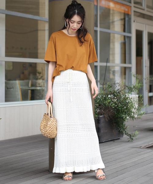 [Bou Jeloud] 【WEB限定】柄編みサマーニットロングスカート
