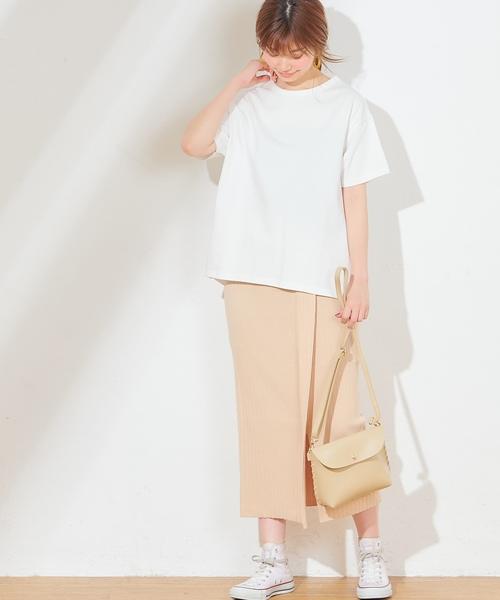 ワイドリブラップ風ニットスカート