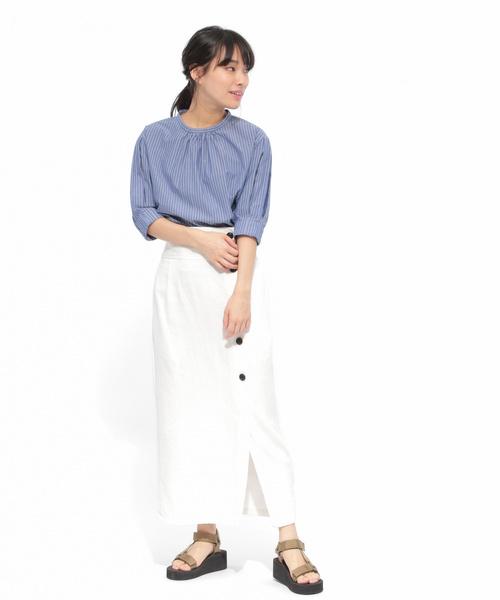 [LAKOLE] コットンドビーボタンナロースカート / LAKOLE