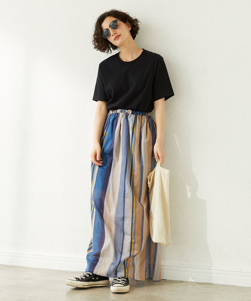 [GALLARDAGALANTE] マルチストライプロングスカート【オンラインストア限定商品】