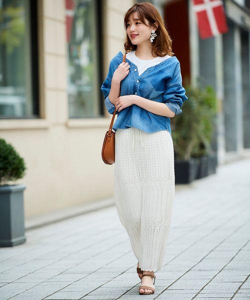 [le.coeur blanc] 透かし柄ロングスカート