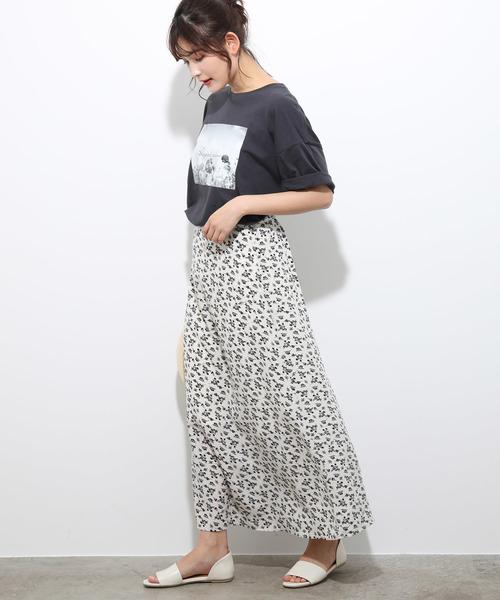 [ViS] 単色花柄プリントマーメイドスカート