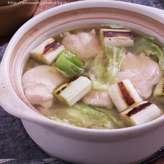 鶏むね肉と焼きねぎの鍋風さっぱりスープ煮