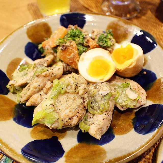 鶏むね肉と長ネギのしょうが風味しっとり焼き