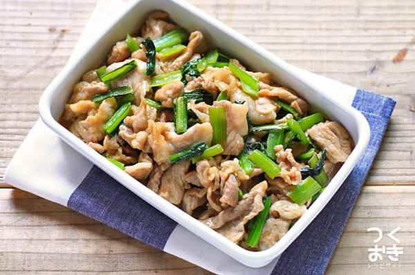 豚肉と小松菜の甘辛しょうが炒め