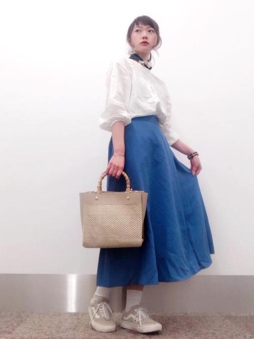 [THE SHOP TK] 【UVカット・防シワ】麻調カラースカート