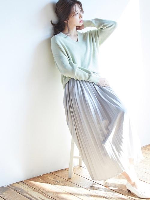 [ViS] 【WEB限定】カットデニムプリーツスカート