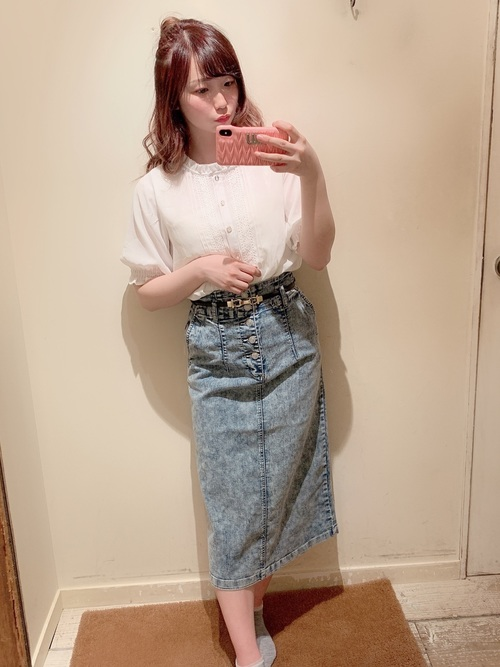 [OLIVE des OLIVE] ストレッチデニムナロースカート