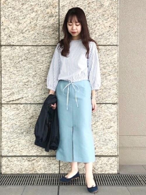 [BEAMS WOMEN] Demi-Luxe BEAMS / コットンシルク スリットタイトスカート