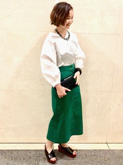 2[SHIPS for women] リネンポリエステルボタンスカート