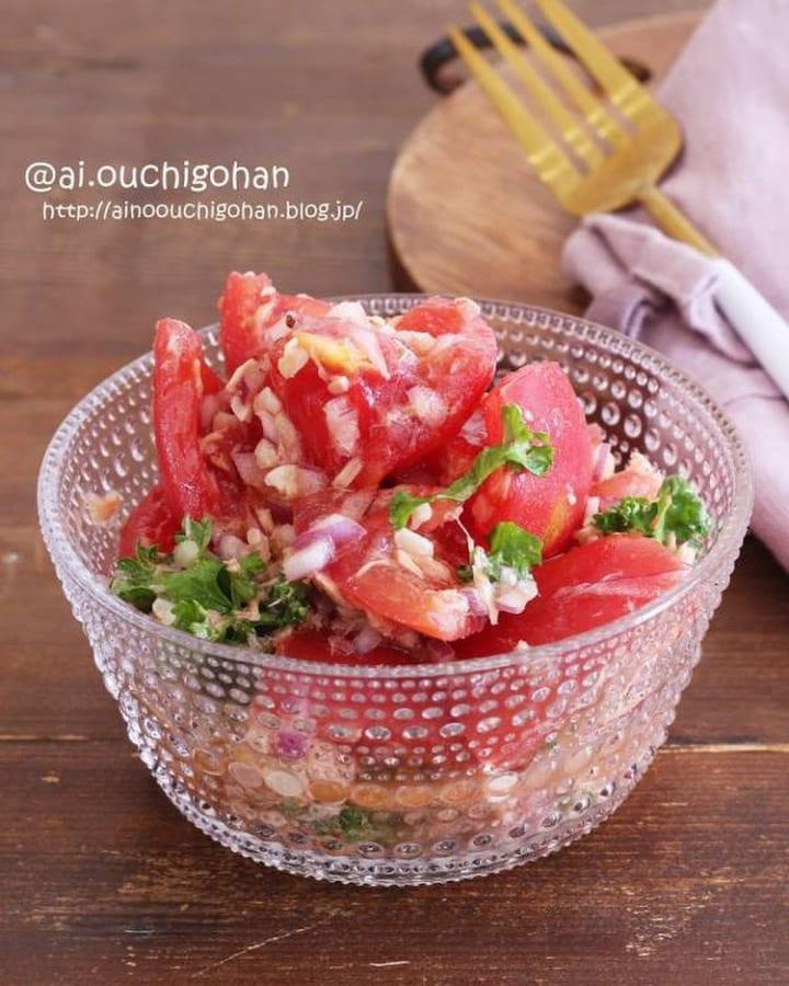 トマトとツナの洋風塩レモンサラダ