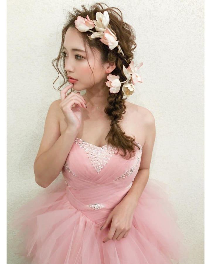 カラードレスにぴったり♡サイド三つ編み2