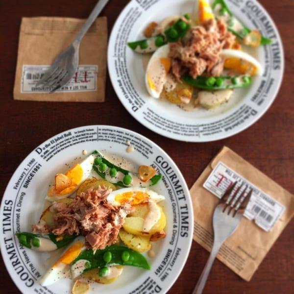 材料がそろえやすい!ツナとじゃがいもとゆで卵のウスターマヨソース