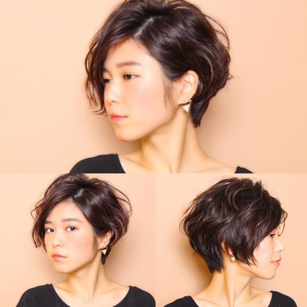 黒髪ショートボブ(パーマ)2