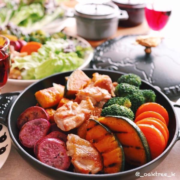 チキンソテーとグリル野菜