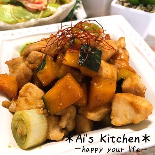 かぼちゃと鶏肉と長ネギの中華炒め