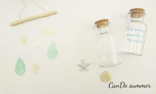 キャンドゥ プリントガラスボトル