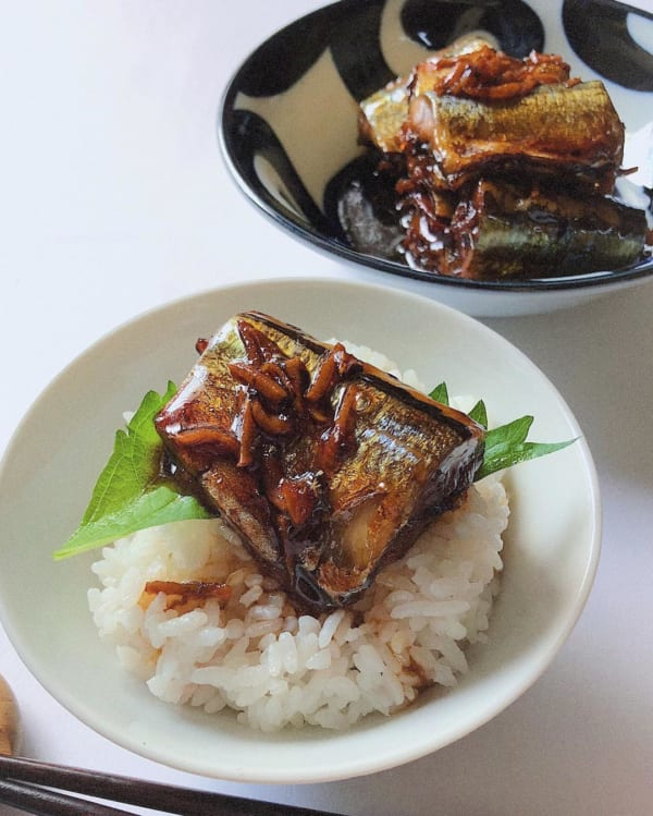 秋刀魚の甘露煮丼