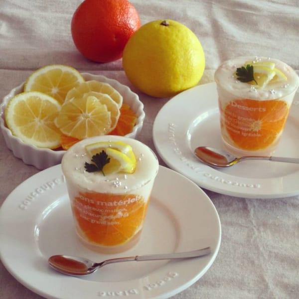 すっきり簡単スイーツ 柑橘とアーモンドミルクのムース