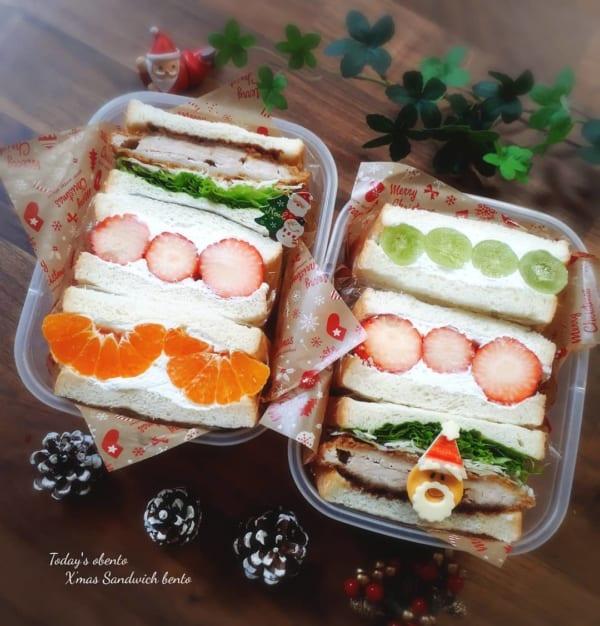 サンドイッチに飾りつきキャラ弁