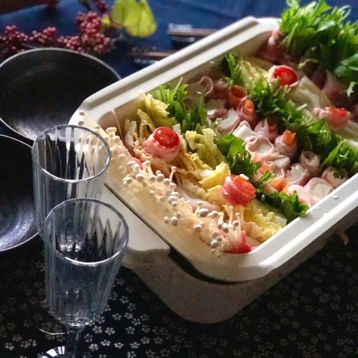 豚バラの野菜巻き鍋