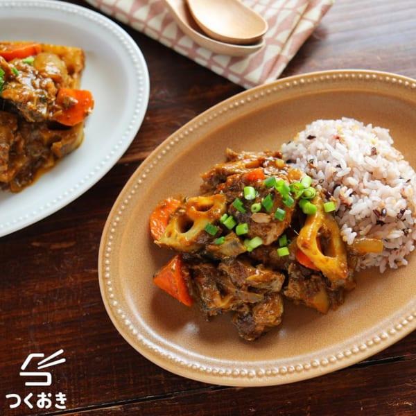 サバ缶と根菜のカレー丼