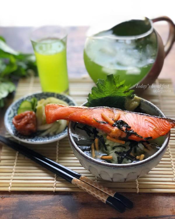 焼き鮭の贅沢茶漬け