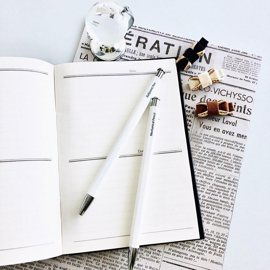 ダイソーの日記帳とワッツのボールペン