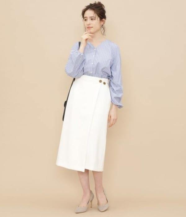 ADAM ET ROPE' FEMME - ボタン付ラップスカート