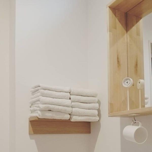 タオルを見せる収納として活用する