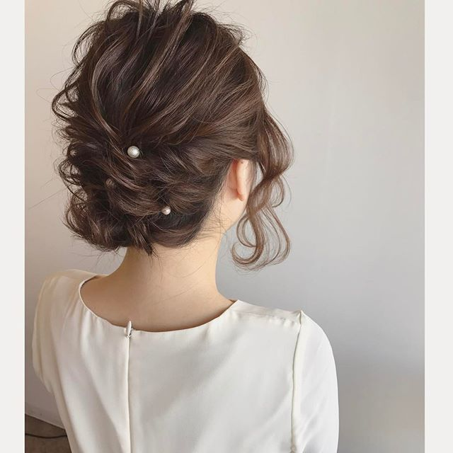 結婚式 ミディアムヘア 髪飾り7