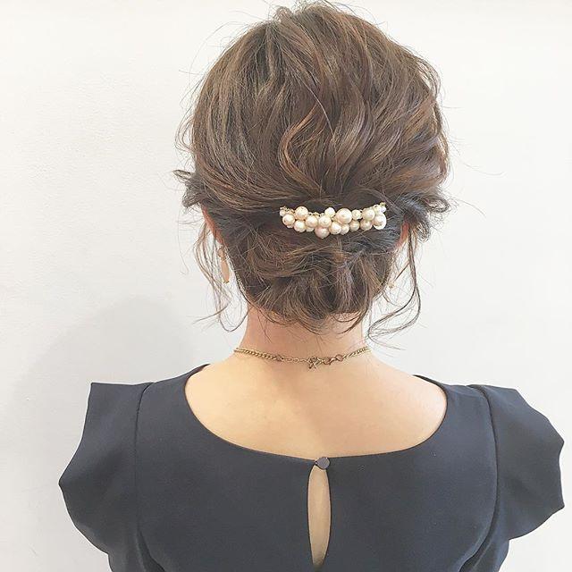 結婚式 ミディアムヘア 髪飾り5