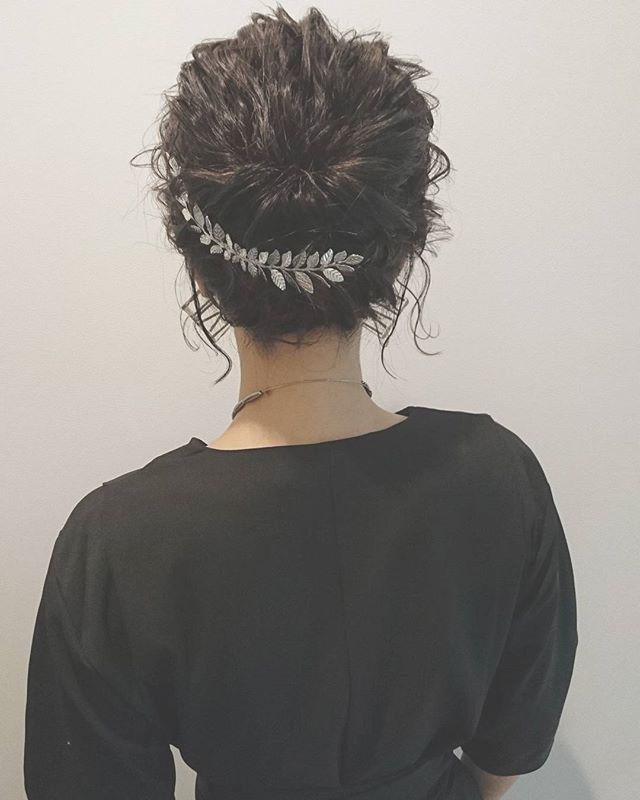 結婚式 ボブヘア 髪飾り5