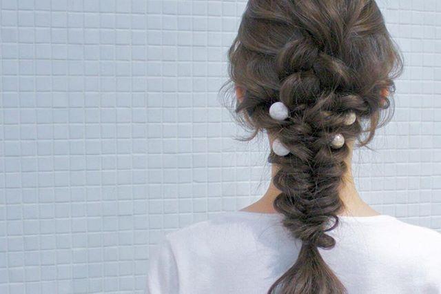 結婚式 ロングヘア 髪飾り12