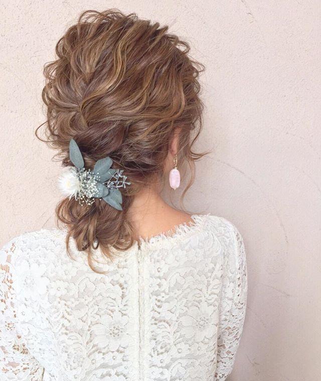 結婚式 ミディアムヘア 髪飾り9