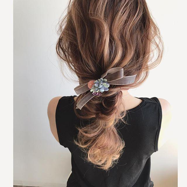結婚式 ミディアムヘア 髪飾り2